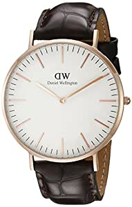 Daniel Wellington - 0111DW - York - Montre Mixte - Quartz Analogique - Cadran Rose - Bracelet Cuir Marron