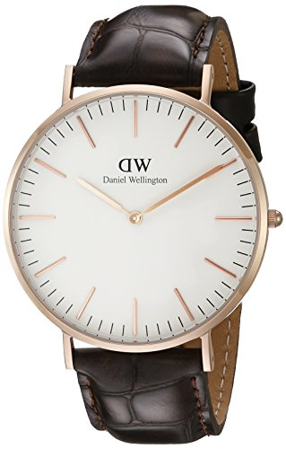 Daniel Wellington York Rose Men's Quartz Watch with White Dial Analogue Display and Brown Leather Strap 0111DW