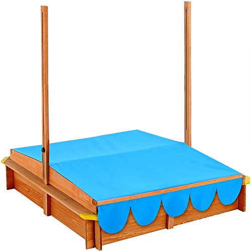 Sand Pit Deluxe 120x120cm Sand Box With Adjustable Roof