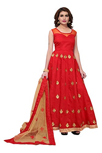 Active Feel Free Life Women's Georgette Gown (Govm2110-Oll12,Red,Free Size, Semi-Stitched)