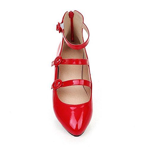 VogueZone009 Femme Pointu à Talon Bas Verni Couleur Unie Zip Chaussures Légeres Rouge