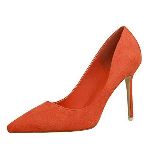 AalarDom Femme à Talon Haut Pointu Tire Chaussures Légeres Orange-9CM