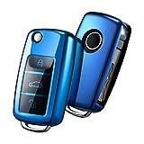 Autoschlüssel Hülle VW,VW Golf Schlüsselbox,Schlüsselhülle Cover für vw Polo Passat Skoda Seat 3-Tasten(Blau)[Verpackung:MEHRWEG]