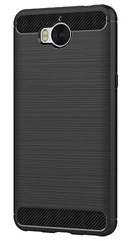 Huawei Y5 2017 / Y6 2017 Coque, Ferlinso Flexible Rugged Armour Hybrid Defender Housse de protection contre les chocs Housse de protection en fibre de carbone avec [Protection écran] pour Huawei Y5 2017 / Y6 2017 (Noir)