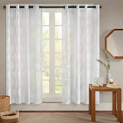 Gardinen Schals Voile Vorhänge mit Ösen Jacquard Wellenmuster Ösenschal Elegant Schlafzimmer Vorhang für kleine Fenster Adele Off White, kurz (2er-Set, je 175x140cm)