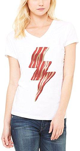 Baked Bacon Flash Lightning Funny Women's V-Neck T-shirt Blanc