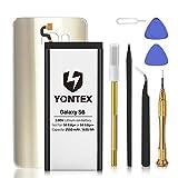 YONTEX Galaxy S6 Akku mit Akkudeckel Ersatz Gold und Reparaturset mit Werkzeug, 2550mAh Ersatzakku 0 Zyklus Batterie für Samsung Galaxy S6 (Gold)