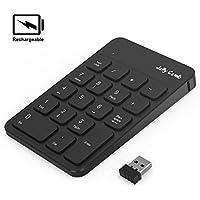 Jelly Comb Ziffernblock, Kabellose Wiederaufladbare 2.4G Nummerische Tastatur Nummernblock USB Keypad Numpad 18 Tasten für Laptop/PC/Notebook, Schwarz