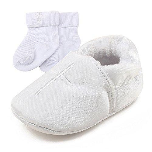 DELEBAO Baby Taufe Schuhe Babyschuhe Taufschuhe Lauflernschuhe Kinderschuhe Weiß Weiche Sohle Leder PU Kleinkind (Schuhe-2&Socken,6-9 Monate) -
