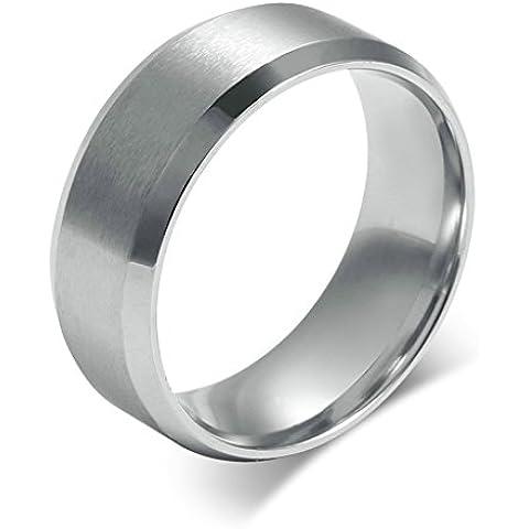 Bishilin Titanio Acciaio Anelli per Uomo Matrimonio Anello Fidanzamento Classico Progettazione