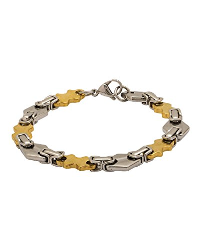 NIA Designer Stainless Steel Bracelet With Gold & Silver Plating For Men  available at amazon for Rs.419