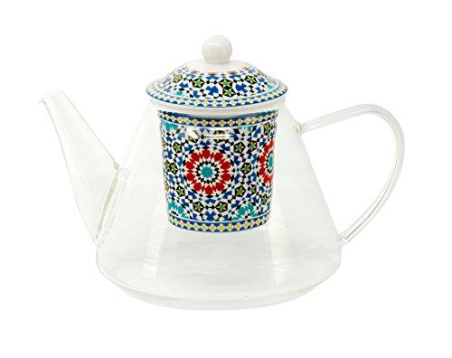 Teekanne aus Glas mit Porzellanfilter Motiv ,,Marokko' 1,2 Liter von DUO