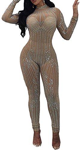 Bevalsa Damen Jumpsuit mit Rhinestone Lang Hosen Rundhals Ausschnitt Langarm Frauen Overall Elegant Sexy Party Abendmode Playsuit Romper Anzug Spielanzug Clubwear Onesie S-XL Rhinestone Jumpsuit