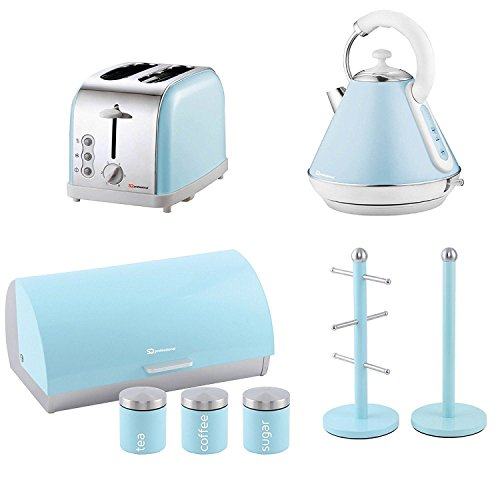 Matching Kitchen Set Of Four Items: Toaster, Kettle, Bread Bin And Canisters And Mug Tree And Kitchen Roll Holder Stand Set In Skyline (Sky Blue)