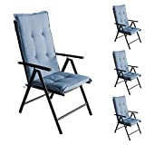 Wohaga 4er Set Komfort Sitzauflage Indigo, 123x44x5cm, UV- & Wasserbeständig, Hochlehner Sitzkissen, Outdoorkissen