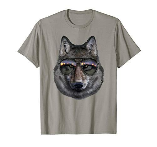 Grauer Wolf, der Swag Aviator Sonnenbrille Trägt - T-Shirt