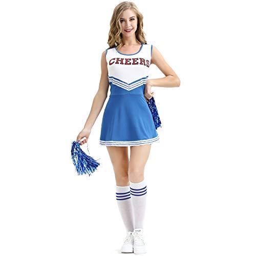 Klassischen Mädchen Kostüm Cheerleader - Sakurio Cheerleader Uniform Musikalische Uniform Kostüm Outfit High School Cheerio Klassische Sportuniform für Frauen Mädchen