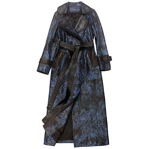 Frauen Lederjacke Windbreaker Mantel, Heavy Duty gedruckt Marmor Leder, Fashion Revers mit Gürtel für Verschiedene Körper tragen, blau,XL -