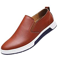 Men's Fashion Slip-On Breathable Round Toe Casual Leather Shoes