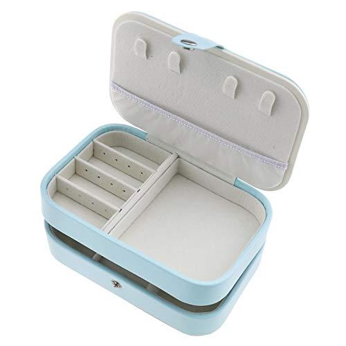 Kollektionen Handtaschen Aus Leder (Blau 2 Schichten PU Leder Reise Schmuck Aufbewahrungsbox Schmuckaufbewahrung für Ringe Ohrringe Halskette Armbänder Veranstalter)