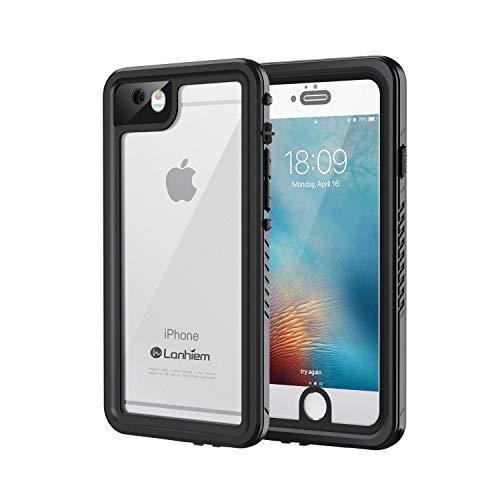 Lanhiem für iPhone 6S Hülle, iPhone 6 Hülle, [IP68 Zertifiziert] Wasserdicht Handy Hülle mit Eingebautem Displayschutz, Stoßfest Staubdicht und Unterwasser Outdoor Schutzhülle, Schwarz
