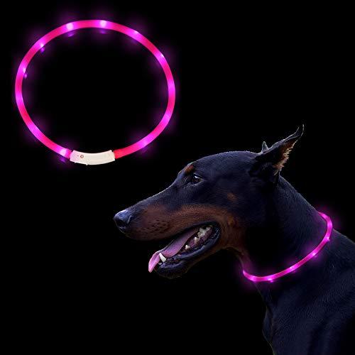 OIZEN Hunde Leuchthalsband LED Hundehalsband Leuchtband Leuchtschlauch Hundehalsband 70cm USB wiederaufladbar 3 Modus