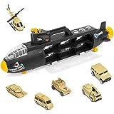 deAO Sottomarino Militare Squalo Transportatore Custodia Portatile per Le Auto Sottomarino delle Forze Armate Camion Squalo di Combattimento Include 6 Veicoli Militari