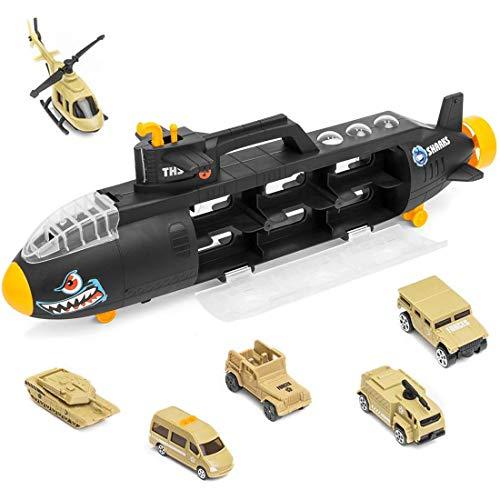 deAO Sottomarino Militare Squalo Transportatore Custodia Portatile per Le Auto Sottomarino delle Forze Armate Camion Squalo di Combattimento Include 6 Veicoli Milit