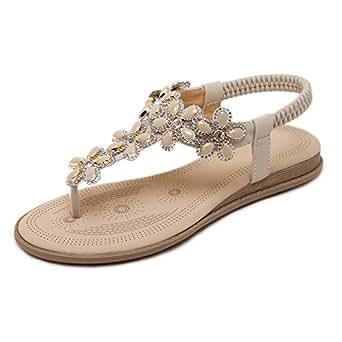 Sandales Lady Estivale Bohème Décontractée Romaine Chaussures Femmes Chaussures Pour Les Voyages De Vacances,Black-EU:38/UK:5.5