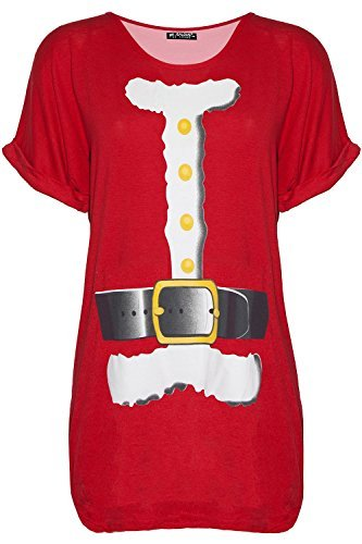 Kostüm T Übergroßes Shirt - Be Jealous Damen Weihnachten Schneemann tanzende Rentier Weihnachten übergroßer Baggy-Stil T-Shirt UK Übergröße 8-22 - Weihnachtsmann Kostüm rot, M/L (UK 12/14)