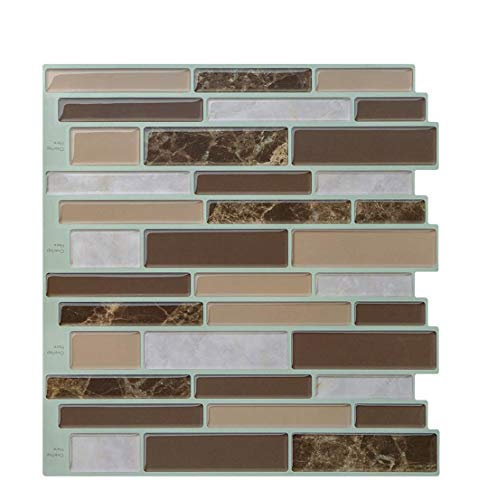 Peel and Stick Tiles Stickers (3D Tiles) for Bathroom/Kitchen, Self Adhesive Wall Tile Backsplash, Premium Anti Mold Mosaic Tiles Stick on Wall 10'' x 9.9'' (Pack of 5 Sheets)