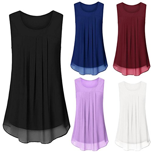 MML Women's Chiffon Vest Top Sleeveless Plain Color Tank Tops Vertical Fold Blouse Summer Camisole