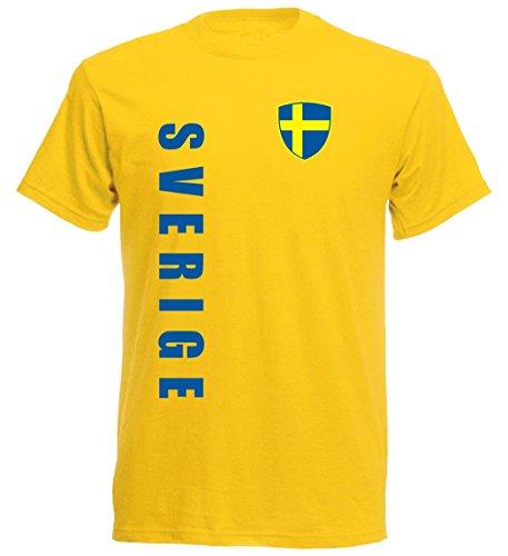 Schweden Kinder T-Shirt - TS-10 - EM 2016 - gelb - Fussball Trikot (152)