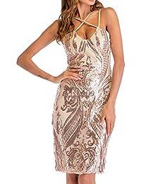 Simple-Fashion Estivo Vestito a Tubino Donne Basic Moda Paillettes Mini  Abito da Festa Cocktail Partito Sexy Senza… 41a341f6051