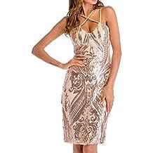 Jinglive Donna Strette Vestiti a Tubino Paillettes Corto Abito da Partito  Cocktail Festa Pin Up Senza 6f5de761374