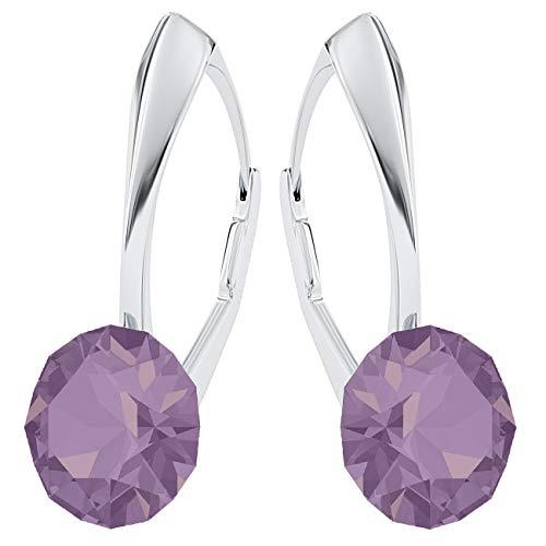 Crystals&stones, xirius - orecchini pendenti da donna in argento 925 con cristalli swarovski®, con scatola per gioielli (pin/75) e argento, colore: cyclamen opal, cod. 7