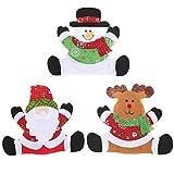 BESTOYARD 3PZ Portaposate Natalizie delle Babbo Natale e Pupazzo di Neve per Decoro Natalizio da Tavolo