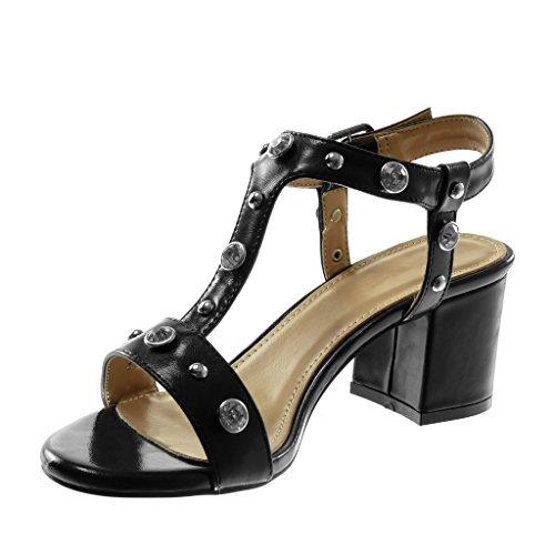 Angkorly Shoes Sandales Mode Décolleté Avec Talon Avec Bride À La Cheville Femme Strass Cloutés Brillant Haut Bloc Talon 7 Cm Noir