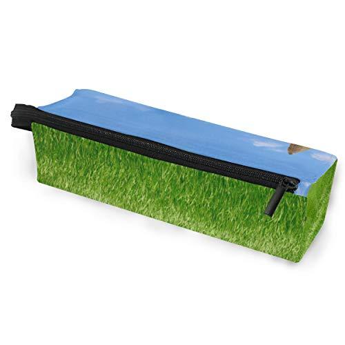 Bleistiftbeutel Sonnenbrillen grünes Gras Hütte Reisfeld blauer Himmel Wolken Kosmetik Studenten Briefpapier Beutel Reißverschluss für Mädchen Jungen