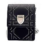 HCyun Damen Mode Tragetaschen Leichtgewicht Umhängetasche Rivet Handytasche PU Leder Messenger Bag Wasserdicht Schultertasche (Schwarz)