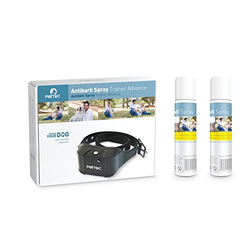 PetTec Antibark Spray Trainer Advance Antibell Erziehungshalsband mit automatischem Sprühsignal inkl. 2x Nachfüllspray (Welpen Training Spray)