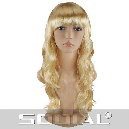 SODIAL(R) Sexy Longue Frise Cheveux Perruque Chic Tout ondule Perruques - Blonde