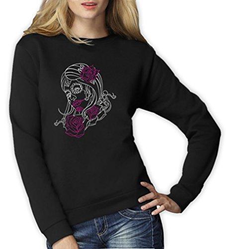 stripe Motiv Frauen Sweatshirt XX-Large Schwarz (Sugar Skull Kostüme Ideen)