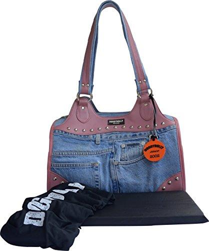 Doggy Dolly PC036 Hundetasche Jeans Nieten mit Henkeln und Gürtelriemen, Tragetasche, pink