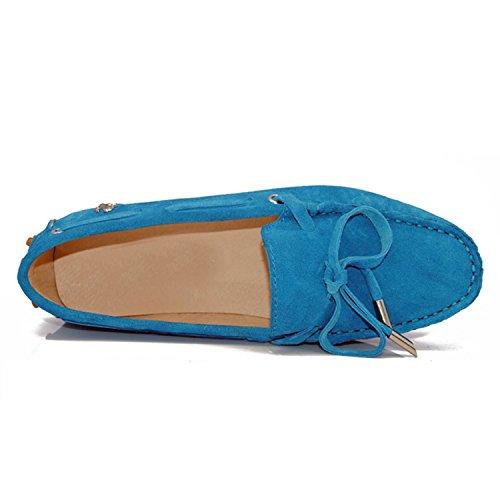 Minitoo Womens Casual confortevole in pelle scamosciata nodo barca Loafer Scarpe Flats Blue