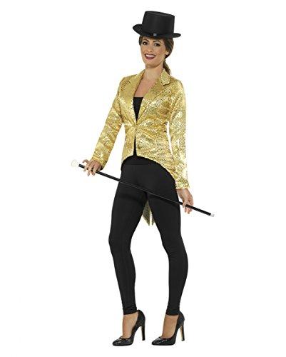 Goldener Damen Pailletten Frack für Zauberer & Zirkus Dompteure (Tanz Kabarett Kostüme)
