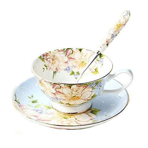 Juego de taza de té, cuchara y platillo de porcelana china vintage, juego con caja de regalo y bordes dorados