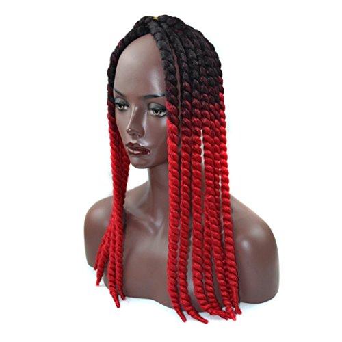 DRESS_start Farbverlauf Twist Crochet Braids Perücken Extensions Synthetische Perücken Haar für Damen Valentinstag Party Jäten 55.8cm (Rot)