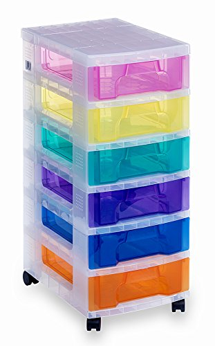 Really Useful Plastic Drawer Storage Unit 6x7 Litre Clear