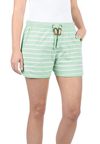 BlendShe Kira Damen Sweatshorts Bermuda Shorts Kurze Hose Mit Fleece-Innenseite Und Streifen-Muster Regular Fit, Größe:L, Farbe:Subtle Green (23011)
